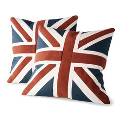 Old Hickory Tannery Union Jack Pillows - These Union Jack pillows might be handcrafted in a family owned facility in North Carolina, but they offer the perfect splash of British flair to any room in your home.