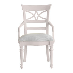 Stanley Furniture - Coastal Living Cottage Sea Watch Arm Chair - Twilight Finish - Combine a filigree back and chamfered legs and you've got reason to sit a little longer. Gently bowed arms are comfortable, yet narrow enough to cup in your palm. Features a cushioned seat in your choice of five fabrics. Made to order in America.