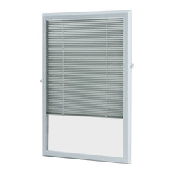 None - White Enclosed Door Blinds (20 x 36) - Install these enclosed blinds on your half-view door to filter light,provide privacy and help promote improved energy efficiency. These top-down blinds won't swing with your door and are easy to raise,lower and tilt to suit your preference.