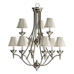 Quorum International - Quorum International Q6136-9 9 Light Up Lighting Chandelier Ashton Coll - Ashton ChandelierChoose Ashton's classic style and clean lines for your traditional or modern interior. Substantial half-sphere glass radiates a welcoming light. Ashton has two finish combinations from which to make your choice � authentic Old World with Scavo glass and Beige Fabric shades or clean Satin Nickel with Alabaster glass and White Fabric shades.Bulbs: (9) 60W Candelabra