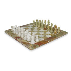 """Mnt Chess Sets - 16"""" X 16"""" Green Onyx & White Marble Chess Set Staunton Style Pieces - Stunning 16"""" x 16"""" marble chess set delicately hand carved pieces. King is 3.5"""" tall and pawns are 2.25"""". Squares are 2"""" each. Please note marble is product of nature, every set is unique. A similar set will be shipped. Staunton style pieces. Comes in Styrofoam Box. Notice the intricate work done on pieces. Lasts a lifetime."""