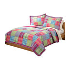 Pem America - Kelsey Pink Twin Quilt with Pillow Sham - This bright, fun, large patchwork quilt is great for a variety of looks in any little girls room! A combination of warm as well as cool colors create a look that is really trendy for any girls room. Twin quilt (68x86 inches) and 1 standard sham (20x26 inches). 100% cotton face and back. Filled with 100% Natural Cotton. Prewashed for comfort. Machine Wash cold/gentle, no bleach, tumble dry.  Pattern and size may vary due to hand crafting.