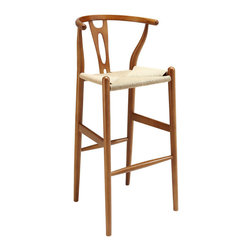 Modway Furniture - Modway Hourglass Wood Barstool in Walnut - Wood Barstool in Walnut belongs to Hourglass Collection by Modway The sands of times flow effortlessly through the Hourglass wooden bar stool. The craftsmanship is evident throughout a piece that appears simultaneously both petite and boldly courageous. While Hourglass was named after the transitional feel of the solid beechwood back and base, the result is a design that appears most enduring. With the footrest appearing on a lower level than the supporting side slats, throughout Hourglass develops this interplay between permanence and sequential movements forward. The seat is made of paper rope, a new twine that is eco-friendly, soft, anti-static and durable. Set Includes: One - Hourglass Wood Bar Stool Barstool (1)