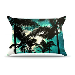 "Kess InHouse - Caleb Troy ""Palm Trees & Stars"" Pillow Case, King (36"" x 20"") - This pillowcase, is just as bunny soft as the Kess InHouse duvet. It's made of microfiber velvety fleece. This machine washable fleece pillow case is the perfect accent to any duvet. Be your Bed's Curator."