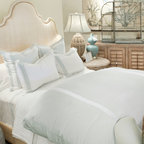 Montague and Capulet California King-Eastern King Duvet in Mandarin-White - Bold stripes doubly re-define your bed as a space that's comfortably luxe and relaxing to feel, but active and decisive to view. This contrasting treat for the senses is the characteristic of the Live to Tell collection of high-end bedding, and is well-expressed by the wide and vivid spaces of this knife-edged Egyptian cotton duvet. A zip closure to the washable cover allows for an easy and immediate personality change for your bed.