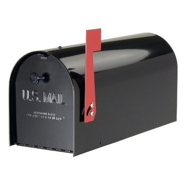 SOLAR GROUP - Mailbox Tuff Body Heavy-duty Rural Black - Virtually indestructible and vandal resistant! Constructed of 20 lbs of heavy gauge steel, its powder coat black finish ensures long life and durability. Stainless steel piano hinged door and heavy steel flag are secured with steel fasteners.