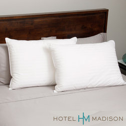 Hotel Madison - Hotel Madison 400 Thread Count Down Alternative Pillow (Set of 2) - This Hotel Madison down alternative pillow features luxurious 400 thread count Supima cotton fabric with a woven dobby stripe pattern. Micro-denier polyester fiber inside the pillow allows adjustability and support as you move your head while sleeping.