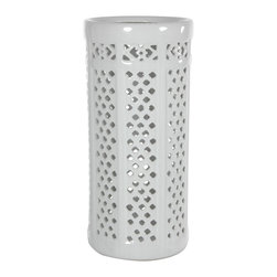 "Oriental Furniture - Carved Lattice Umbrella Stand - Attractive and practical design accessory. Ideal for storing umbrellas, canes, and walking sticks as well as long stem flower or bamboo displays. Striking white dolomite with richly textured ""pierced"" or ""carved"" lattice design. An elegant and exotic accent at a remarkably affordable price."