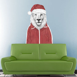 My Wonderful Walls - Santa Lion Wall Decal Cut Out by Balázs Solti, Small - - Product:  silly lion wall decal in Christmas Santa hat and red jumpsuit