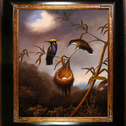 "overstockArt.com - Heade - Black-Breasted Plovercrest - This is a remarkable oil painting reproduction of a Martin Johnson Heade original ""Black-Breasted Plovercrest."" Originally created in 1864. Today it has been reproduced with exceptional use of color, detail and brush strokes. This oil painting has a delightful setting that is sure to bring many admirers. Martin Johnson Heade was a prolific American painter known for his salt marsh landscapes, seascapes, portraits of tropical birds, as well as lotus blossoms and other still life images. His painting style and subject matter, while derived from the romanticism of the time, Heade's work was not widely known during his life time. However, his work did attract scholars, art historians, and collectors during the 1940s. He quickly became recognized as a major American artist."