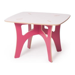 Sprout - Kids Table, Pink & White - The Sprout Kids Table is perfect for drawing, play, or projects. Use it like a folding table; break it down when you don't need it and set it up again in just seconds when you need it. Easy assembly is simple enough for your kids to figure out. Our Kids Table requires no tools, no hardware, and is simple to assemble. Patent pending Tension Lock Technology uses the natural properties of wood to create a sturdy durable joint that can be assembled and disassembled repeatedly.