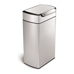 simplehuman - simplehuman Rectangular Touch-Bar Trash Can - The simplehuman unique touch-bar makes it easy to open the can from any angle. Just tap with your elbow,bump with your hip or nudge with your knee.  The touch-bar trash can stays open until you are ready to close it.