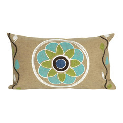 """Trans-Ocean Inc - Maroma Linen 12"""" x 20"""" Indoor Outdoor Pillow - The highly detailed painterly effect is achieved by Liora Mannes patented Lamontage process which combines hand crafted art with cutting edge technology. These pillows are made with 100% polyester microfiber for an extra soft hand, and a 100% Polyester Insert. Liora Manne's pillows are suitable for Indoors or Outdoors, are antimicrobial, have a removable cover with a zipper closure for easy-care, and are handwashable.; Material: 100% Polyester; Primary Color: Beige;  Secondary Colors: green, pale blue, white; Pattern: Maroma; Dimensions: 20 inches length x 12 inches width; Construction: Hand Made; Care Instructions: Hand wash with mild detergent. Air dry flat. Do not use a hard bristle brush."""