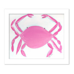 "Doodlefish - Caitlin the Crab in White Raised Frame - 15""x18"" Framed Giclee that features an adorable crab in a great shade of pink on a blue washed background. Artwork is available in various frame choices."