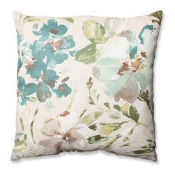 Pillow Perfect - Paint Palette Mist 23-Inch Floor Pillow - - Crafted of the finest crisp cotton this dreamy green floral throw pillow breathes fresh air into d�cor. We love how this natural color palette plays beautifully with any existing color scheme. Finished with supreme plush fill and crisp cotton fabric this accent pillow will withstand the test of time beautifully. Perfect for the nature lover or any home decorator looking to bring the beauty of the outdoors inside.  - Knife Edge Sewn Seam Closure   - Clean and Care: Spot Clean Only  - Made in the USA Pillow Perfect - 567099