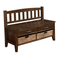 Simpli Home - Williamsburg Walnut Brown Entryway Storage Be - Transitional styled piece. The casual look of this bench fits easily into home. Simple elegance and is functional. Attractive and comfortable. Elegant and understated. Soft gentle curve and tapered leg. Two curved drawer with brush nickel pulls. Wide enough to comfortably seat two people and two drawers and two cubbies for storage. Durable NC lacquer top coat. Made from solid plantation grown wood. Dark walnut brown finish. Made in Vietnam. Assembly required. 17 in. L x 42 in. W x 29 in. H (55 lbs.)The Williamsburg Collection. The Carolina adds charm to any home.This durable bench is to effectively organize your entryway. Adds a touch of style in your entryway.