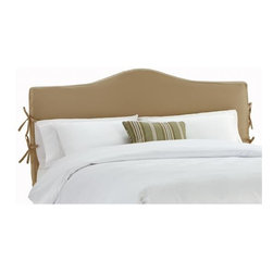 Home Decorators Collection - Custom Sawyer Upholstered Headboard - With an elegantly arched shape and four ties, our Custom Sawyer Upholstered Headboard offers the perfect combination of classic style and quality fabric. Made in the United States, this headboard features a removable slipcover handmade of any of our large selection of top-quality fabrics. Includes removable slipcover. Includes hardware to attach to most standard bed frames. Assembled to order in the USA and delivered in 4-6 weeks. Spot clean only.