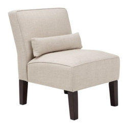 Z Gallerie - Bailey Accent Chair - Our Bailey Chair upholstered in Linen Sand will provide comfort but, more importantly, it provides a statement of fashion. The armless slipper chair covered in 100% linen is cushioned with high-density foam padding. The lumbar accent pillow adds comfort and style. The scale of the chair makes it perfect for bedrooms or as pairs without forfeiting a lot of space.