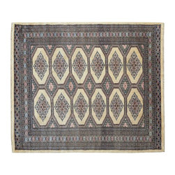 Bokara Jaldar Design Ivory Hand Knotted 100% Wool 4'x5' Oriental Rug SH15600 - This collections consists of well known classical southwestern designs like Kazaks, Serapis, Herizs, Mamluks, Kilims, and Bokaras. These tribal motifs are very popular down in the South and especially out west.