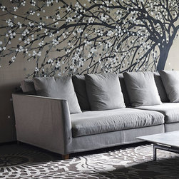 deGournay wallcovering Windswept Blossom' design in special colourway SC-53 -
