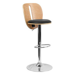 Flash Furniture - Beech Bentwood Adjustable Bar Stool with Black Vinyl Seat and Cutout Back - Beautiful and elegant describe the bentwood style barstool that's accented with a slot cutout for a contemporary flair. This stool is complemented with a comfortable vinyl padded seat and a height adjustable swivel seat that adjusts from counter to bar height with the handle located below the seat. The base and footrest have a chrome finish to complement the chair's modern design.