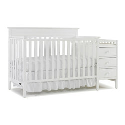 "Graco - Lauren Convertible Crib and Changing Table - Durable, versatile and beautiful, the Lauren Crib n' Combo Changer is sure to provide years of beauty and function. Simple yet elegant in style, this sturdy crib features stationary side rails for a safe sleeping environment for your baby with a mattress platform that adjusts to three different heights depending on the age of your baby. This crib design easily transitions to a toddler bed, daybed and full-size headboard. The attached changing table features 3 spacious drawers and a shelf for convenient storage. Features: -Converts from a crib to a toddler bed (no guard rails needed), day bed and to a full-sized headboard (requires a metal bed frame for full bed conversion, not included).-Wipe clean with a damp cloth.-Lauren collection.-Product Type: Crib & changer combo.-Collection: Lauren.-Distressed: No.-Compatible Mattress Size: Standard.-Mattress Included: No.-Conversion Set Available: Yes.-Convertible: Yes -Number of Conversions: 3..-Life Stage: Kid; Baby; Teen.-Changing Table Included: Yes -Movable Changing Table: Yes..-Drawers Included: Yes -Number of Drawers: 3..Specifications: -JPMA Certified: Yes.-ASTM Compliant: Yes.-CPSIA or CPSC Compliant: Yes.Dimensions: -Overall Height - Top to Bottom: 43.5"".-Overall Width - Side to Side: 57"".-Overall Depth - Front to Back: 30.125"".-Changing Table: Yes.-Changing Pad: No.-Mattress: No.-Youth Bed: Yes.-Drawers: Yes.-Overall Product Weight: 87 lbs.Warranty: -Product Warranty: 1 Year limited warranty against manufacturer's defects."