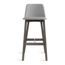 Blu Dot - Blu Dot Chip Barstool, Smoke / Pewter - No dash of flash needed. Pleasing comfort, timeless form, and a hardy build makes Chip a poised seating fix for any space.  Available in chair, barstool and counterstool. Solid ash with smoke stain or white oak legs, 100% polyester fabric, Foam wrapped plywood seat
