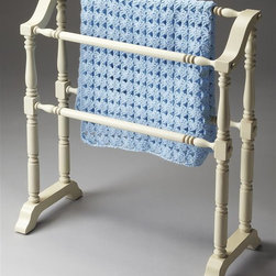 Butler - Masterpiece Blanket Rack - Horizontal rods for hanging quilts, comforters, bed spreads, duvets and blankets. Can be used for hanging guest towels. Made from solid woods. Cottage white finish. 28 in. W x 12.5 in. D x 33 in. H (21 lbs.)