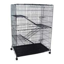 "YML - 4 Levels Small Animal Cage in Black - Features: -Cage. -2 Large front doors. -3 Platforms and ladders (0.5"" bar spacing) to promote exercise. -Walls and doors have 1"" bar spacing. -Floor grate 0.38"" bar spacing. -Easy clean slide out bottom plastic tray. -4 Casters. -No tools needed to setup. -Powered coated finish. -Overall dimensions: 52"" H x 35"" W x 23"" D."