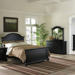 None - Napa Black Bedroom 5-piece Set - The Napa collection offers a casual cottage feel to your bedroom.  This beautiful 5-piece set is finished in black and is accented by a chevron pattern veneer on the head and footboard.