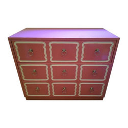 Pre-owned 1940s Dorothy Draper Lacquered Dresser Hot Pink - This beautiful Dorothy Draper custom lacquered dresser from the 1940s features three drawers with silver ring handles. It is in beautiful condition and would make a gorgeous addition to any room. The color is light pink.      The seller is offering another dresser of the same design in light pink, listed separately. Please see seller's other listings.