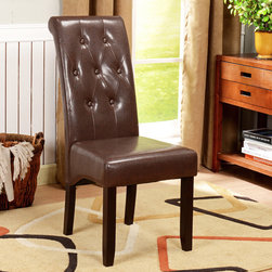 None - K&B Brown Leatherette Button Tufted Parson Chairs (Set of 2) - Add traditional style to your home with these sleek faux-leather Parson chairs. Featuring espresso finish solid wood legs and a brown faux-leather upholstery,this set of two chairs will add seating and depth to your dining room decor.