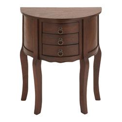 Woodland Imports - Brown Wood Nightstand 3 Drawers Metal Home Bedroom Furniture Decor - Traditional brown wood semicircle nightstand with 3 drawers and metal ring handles home bedroom furniture decor