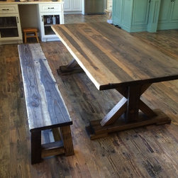 Custom Rustic Tables - Rustic Single X-Base Dining Table.  RRG Stain, Dark. Tung Oil Finish.