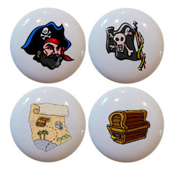 Carolina Hardware and Decor, LLC - Set of 4 Pirate Ceramic Knobs - Set of four new 1 1/2 inch ceramic cabinet, drawer, or furniture knob with mounting hardware included. Also works great in a bathroom or on bi-fold closet doors (may require longer screws).  Items can be wiped clean with a soft damp cloth.  Great addition and nice finishing touch to any room.