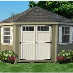 Little Cottage 10 x 10 ft. 5-Sided Colonial Panelized Garden Shed - Additional FeaturesIncludes Z-style shuttersColonial style doors with large hingesDouble doors make entry and exit easyDoor handle latch locksTrim and siding are 98% primedHardware to assemble is included The Little Cottage 10 x 10 ft. 5-Sided Colonial Panelized Garden Shed Kit is crafted from wood in a classic style that is pleasing to the eye. Perfect as a shed, workhouse, or playhouse, this shed comes precut and panelized to save you assembly time. The Smartside siding and trim are pre-fastened onto the wall panel sections to ensure the panels are square. The siding and trim are also 98% primed for longevity. Two windows with glass, grids, and screens, as well as Z-style shutters, are also included, allowing you to let air and light into your shed. The double colonial doors not only look great, but are extremely practical, making it easy to move items in and out of the shed. The door handle latches to help keep your items safe and the hardware to assemble the shed is included.About The Little Cottage CompanyNestled in the heart of Ohio's Amish country, The Little Cottage Company resides in a quaint, slow-paced setting where old-fashioned craftsmanship and attention to detail have never gone out of style. Their experienced carpenters and skilled designers take great pride in creating top-quality, pre-built models and Do-It-Yourself kits of playhouses, storage sheds, and more.