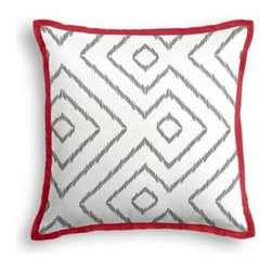 Gray & White Optical Diamond Custom Throw Pillow - The Tailored Throw Pillow is an updated, contemporary pillow style with the center fabric framed by a thin contrast flange.  Voila!-it's artwork for your couch! We love it in this super chic gray and white diamond print on pure linen. A bold, graphic statement in your modern home.