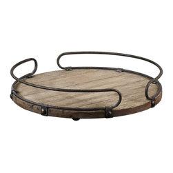 Uttermost - Uttermost Acela Tray w/ Wood Base & Aged Metal Details - Tray w/ Wood Base & Aged Metal Details belongs to Acela Collection by Uttermost Natural fir wood base with aged metal details. Tray (1)