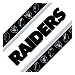 Sports Coverage - NFL Oakland Raiders Football Black Self Stick Wall Border - Features:
