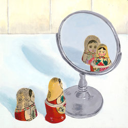 "Emma at Home - Matryoshka Mirror Image Canvas, 12"" x 12"" - A bit of pop art goes a long way in a room. It's especially fun when the piece is a conversation starter like these little dolls admiring themselves in the mirror. Think about placing this canvas in a powder room for your house guests to enjoy."