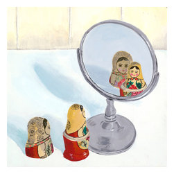 Emma at Home - 'Matryoshka Mirror Image' Canvas Artwork - A bit of pop art goes a long way in a room. It's especially fun when the piece is a conversation starter like these little dolls admiring themselves in the mirror. Think about placing this canvas in a powder room for your house guests to enjoy.
