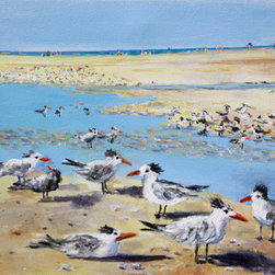 Siesta Key Sea Gulls (Original) by Lou Ann  Bagnall - Sea Gulls frolicking in the tide pools at Siesta Key Beach in Sarasota, Florida. I so enjoyed taking this photo near my home and creating the painting. This one makes me smile. I was told this could be a new art  genre; tropical folk art!