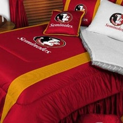 Sports Coverage - Florida State Seminoles NCAA Bedding - Sidelines Comforter and Sheet Set Combo - This is a great Florida State Seminoles NCAA Bedding Comforter and Sheet set combination! Buy this Microfiber Sheet set with the Comforter and save off our already discounted prices. Show your team spirit with this great looking officially licensed Comforter which comes in new design with sidelines. This comforter is made from 100% Polyester Jersey Mesh - just like what the players wear. The fill is 100% Polyester batting for warmth and comfort. Authentic team colors and logo screen printed in the center. Microfiber Sheet Set have an ultra-fine peach weave that is softer and more comfortable than cotton! This Micro Fiber Sheet Set includes one flat sheet, one fitted sheet and a pillow case. Its brushed silk-like embrace provides good insulation and warmth, yet is breathable. It is wrinkle-resistant, stain-resistant, washes beautifully, and dries quickly. The pillowcase only has a white-on-white print and the officially licensed team name and logo printed in team colors. Made from 92 gsm microfiber for extra stability and soothing texture. Sheet Sets are plain white in color with no team logo.   Includes:  -  Flat Sheet - Twin 66 x 96, Full 81 x 96, Queen 90 x 102.,    - Fitted Sheet - Twin 39 x 75, Full 54 x 75, Queen 60 X 80,    -  Pillow case Standard - 21 x 30,    - Comforter - Twin 66 x 86, Full/Queen 86 x 86,