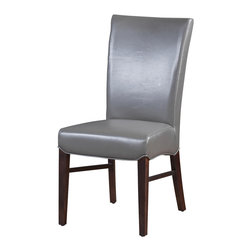 Artemano - Bella Leather Dining Chair , Grey - The bold and modern Bella Dining Chair, made of high- quality bicast leather and available in four fashionable colors, has a sleek design with a slightly arched back. A subtle decorative stitching contouring the sides and down the back of the chair adds an extra touch of elegance. When dressing up your dining room, you can't go wrong with the Bella Chair!