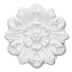 "Ekena Millwork - Kent Rosette, 7⅝""OD x 1⅜""P - Our rosettes are the perfect accent pieces to cabinetry, furniture, fireplace mantels, ceilings, and more.  Each pattern is carefully crafted after traditional and historical designs.  Each piece comes factory primed and ready for your paint.  They can install simply with traditional adhesives and finishing nails."