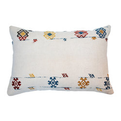 Hot Moon Collection - Vintage Kilim Pillow Pair - Love finding the perfect vintage kilim to make these unique pillows, lovely wool old kilim with embroidery, a heavy cotton backing, hidden zipper with down/feather inserts.