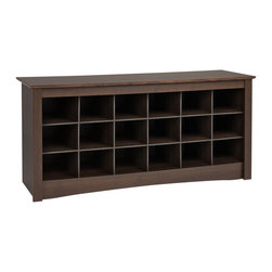 "Prepac - ""Prepac Shoe Storage Cubbie Bench, Espresso"" - ""Store your shoes where you put them on with our Shoe Storage Cubbie Bench. Dual-purposed and versatile, this bench is a great addition to your foyer, mudroom, utility room or bedroom. Each of the 18 individual cubbies is spacious enough to hold a pair of size 13 men's shoes, keeping them neatly stored and out of the way. It's the perfect piece to keep your shoes organized.Finished in durable rich espresso laminateConstructed from CARB-compliant, laminated composite woods with a sturdy MDF backerShips Ready to Assemble, includes an instruction booklet for easy assembly and has a 5-year manufacturer's limited warranty on partsAssembled Dimensions: 48""""W x 24""""H x 16""""DInternal Dimensions: 6.75""""W x 5.5""""H x 13.75""""D (each cubbie)Proudly manufactured in North America  Total Weight Capacity: 200 lbs"""