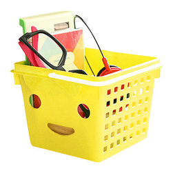 Smiley - The Small Plastic Basket, Yellow - these little plastic baskets are ever so happy to be toting your trinkets. comes in a variety of bright fun colors – pink, yellow, blue, or green.
