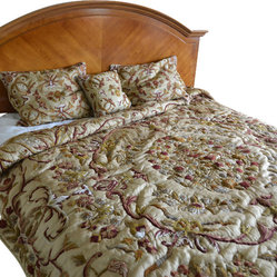 Crewel Bedding Art Nouveau Desert Sand Silk Organza (KING)