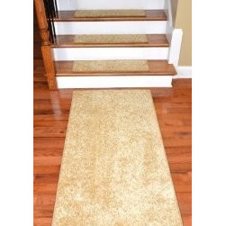 "Dean Flooring Company - Dean DIY 30"" x 9"" Premium Carpet Stair Treads Plus a 5' Runner - Color: Softique - Dean DIY 30"" x 9"" Premium Carpet Stair Treads Plus a 5' Runner - Color: Softique Straw : Dean Premium Super Soft  Carpet Stair Treads Plus a Matching 5' Runner  by Dean Flooring Company  Color: Softique Straw  Color matching finished edges.      Set includes thirteen stair treads plus a matching 5' runner for your landing.     Each tread measures approximately 30"" x 9"".     Also easy to spot clean and vacuum.     Helps prevent slips on your hardwood stairs.     Great for helping your dog easily navigate your slippery staircase.     Reduces noise     Reduces wear and tear on your hardwood stairs     Attractive: adds a fresh new look to your staircase.     Easy DIY installation with double sided carpet tape (included).     Made from premium super soft stain and spill resistant residential carpeting.     Attractive rounded corners.     Made in the USA!  Add a touch of warmth and style to your home today with stair treads from Dean Flooring Company!"